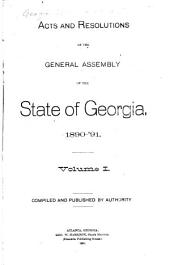 Acts of the General Assembly of the State of Georgia: Volume 1
