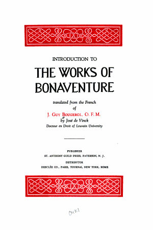 Introduction to the Works of Bonaventure PDF
