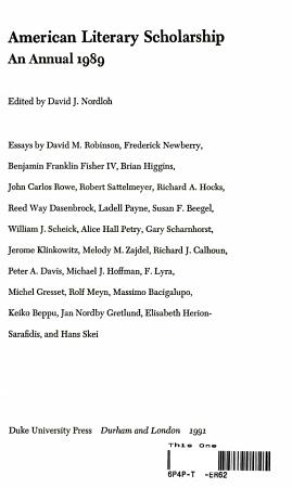American Literary Scholarship PDF