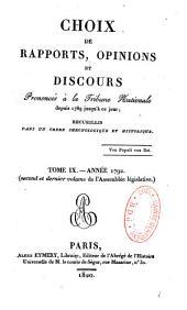 Choix de rapports, opinions et discours prononcés à la Tribune Nationale depuis 1789 jusqu'à ce jour
