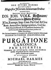 Diss. inaug. de purgatione canonica