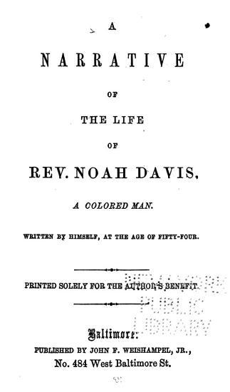 A Narrative of the Life of Rev  Noah Davis PDF