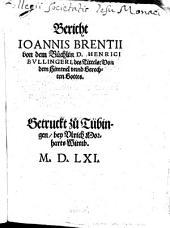 Bericht von dem Büchlein D. M. Bullingeri vom Himmel
