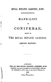 Hand-list of Coniferae: Grown in the Royal Botanic Gardens