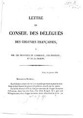 Lettre du Conseil des délégués des colonies françaises, à MM. les ministres du commerce, der finances, et de la marine