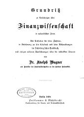 Grundriss zu vorlesungen über Finanzwissenschaft ... 1898