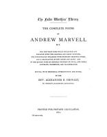 The Complete Works in Verse and Prose of Andrew Marvell PDF