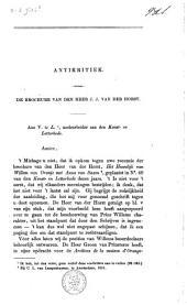 Antikritiek. De brochure van den heer J. J. Vander Horst