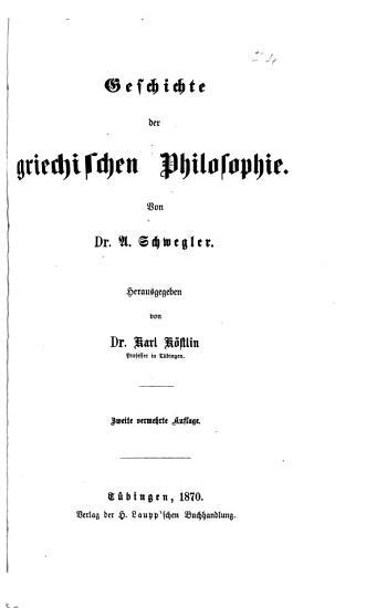 Geschichte der griechischen Philosophie PDF