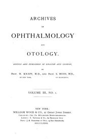 Archives of Ophthalmology and Otology: Volume 3