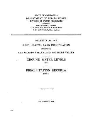 Ground Water Levels and Precipitation Records in Los Angeles, San Gabriel, and Santa Ana River Basins and Antelope Valley