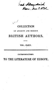 Introduction to the Literature of Europe in the 15th  16th  and 17th Centuries PDF