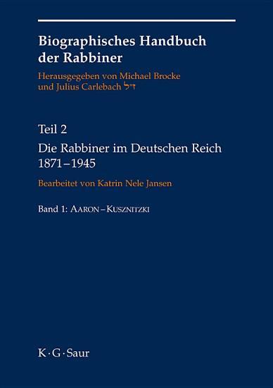 Die Rabbiner im Deutschen Reich 1871 1945 PDF