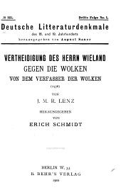 Vertheidigung des Herrn Wieland gegen die Wolken: von dem Verfasser der Wolken (1776).