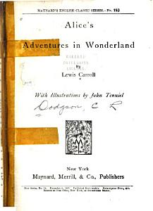 Alice s Adventures in Wonderland Book
