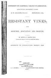 Report of the Viticultural Work During the Seasons