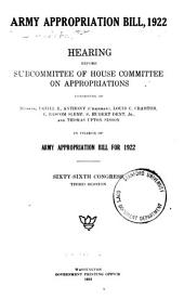 Army Appropriation Bill: 1922, Hearing ... 66th Congress, 3d Session