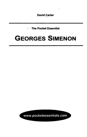 The Pocket Essential Georges Simenon