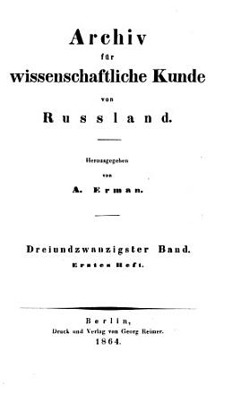 Archiv f  r wissenschaftliche Kunde von Russland PDF