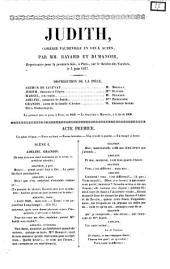 Judith comédie-vaudeville en deux actes par mm. Bayard et Dumanoir