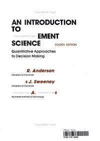 An Introduction to Management Science Book