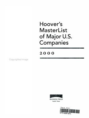 Hoover s Masterlist of Major U S  Companies  2000