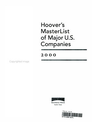 Hoover's Masterlist of Major U.S. Companies, 2000