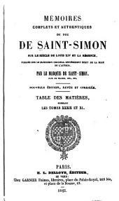 Mémoires complets et authentiques ...: sur le siècle de Louis XIV et la régence, Volumes39à40
