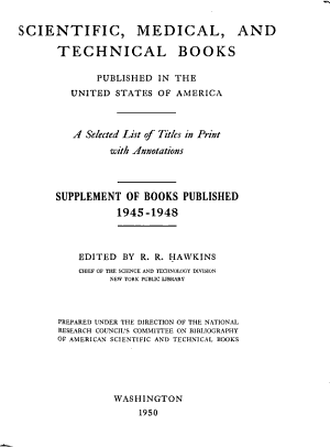 Scientific  Medical  and Technical Books Published in the United States of America  1930 1944 PDF