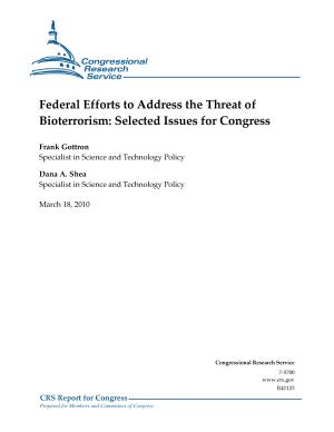 Federal Efforts to Address the Threat of Bioterrorism PDF