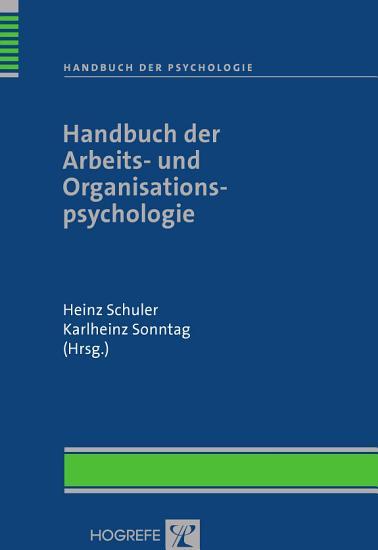 Handbuch der Arbeits  und Organisationspsychologie PDF