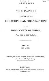 Proceedings of the Royal Society of London: Volume 3