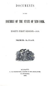 Documents of the Assembly of the State of New York: Issues 51-85