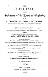 The First Part of the Institutes of the Laws of England PDF