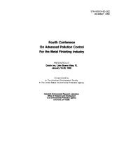 Fourth Conference on Advanced Pollution Control for the Metal Finishing Industry: presented at Dutch Inn, Lake Buena Vista, FL, January 18-20, 1982, Volume 1