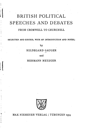 British Political Speeches and Debates from Cromwell to Churchill