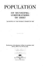Population of Municipal Corporations of Ohio as Shown by the Federal Census of