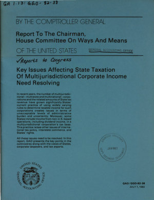 Key Issues Affecting State Taxation of Multijurisdictional Corporate Income Need Resolving PDF
