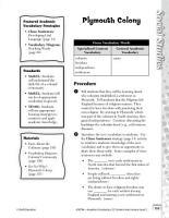Academic Vocabulary Level 2  Plymouth Colony PDF