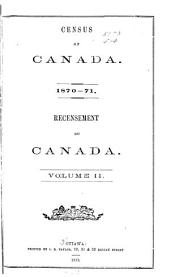 Census of Canada. 1870-71: Volume 2