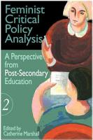 Feminist Critical Policy Analysis  A perspective from post secondary education PDF