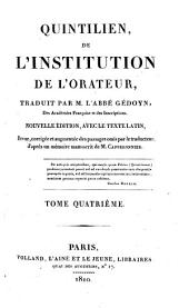 De l'institution de l'orateur: Volume 4