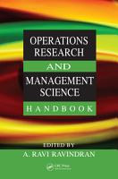 Operations Research and Management Science Handbook PDF