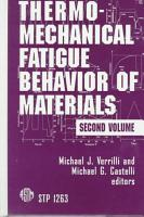 Thermomechanical Fatigue Behavior of Materials PDF
