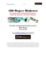 180 Degree Diabetes  Preventing and Reversing Insulin Resistance  Metabolic Syndrome and Type 2 Diabetes PDF