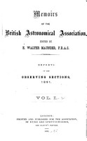 Memoirs of the British Astronomical Association PDF