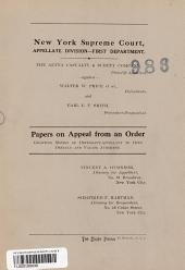New York Supreme Court Appellate Division- First Department Papers on Appeal from an ORder