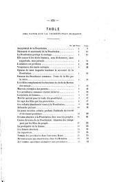 Mémoire sur la prostitution publique et parallèle complet de la prostitution romaine et de la prostitution contemporaine: suivis d'une étude sur le dispensaire de salubrité de Bordeaux : d'une statistique des vénériens dans la garnison de Bordeaux : et d'un essai de statistique de l'infection vénérienne dans le garnisons de l'Empire français