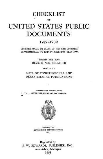 Checklist of United States Public Documents  1789 1909 PDF