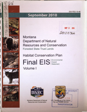 Montana Department of Natural Resources and Conservation  Forested State Trust Lands  Habitat Conservation Plan